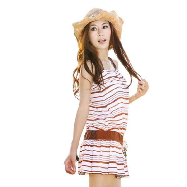 日系咖啡條紋平口 3件式 鋼圈繞頸比基尼 泳衣+洋裝泳裝 顯瘦 泳裝 橘魔法 現貨