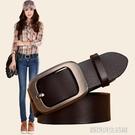 女士純牛皮腰帶方扣針扣休閒簡約百搭韓國學生寬潮牛仔褲皮帶
