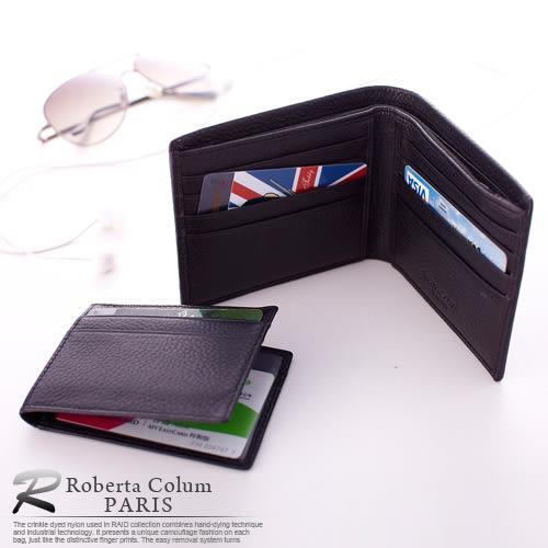 【Roberta Colum】法國荔枝紋軟牛皮可拆式左右翻卡片夾短夾-咖色