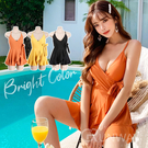 低胸爆乳 下擺飄逸荷葉 側綁結裙款 短裙 連身泳裝 連身款 美胸型 比基尼 集中鋼圈 泳衣 泳裝