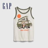 Gap男幼創意撞色條紋無袖背心577635-光感亮白