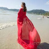 緞面純色沙灘巾超大百搭披肩女夏兩用海邊出游防曬多功能絲巾紗巾  泡芙女孩輕時尚