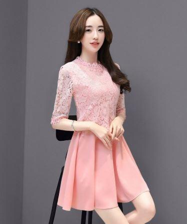 Qmigirl 韓版長袖蕾絲鏤空收腰長裙 連身洋裝【WT078】