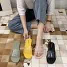 拖鞋韓版時尚百搭透明帶防滑一字涼拖鞋【02S12491】