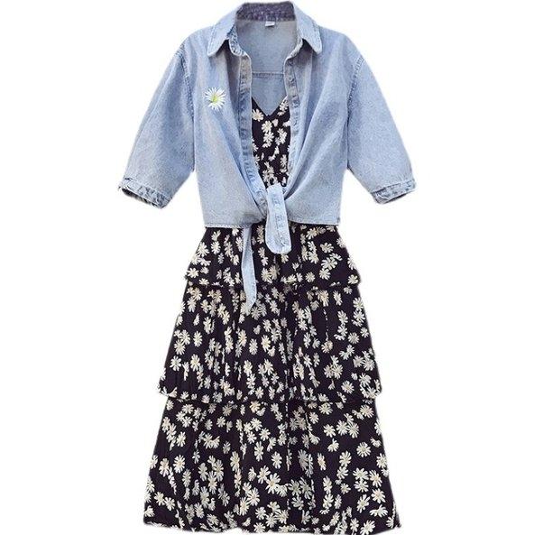 洋裝連身裙兩件式L-4XL中大尺碼時尚背心裙小雛菊連衣裙牛仔衫4F082.7922皇潮天下