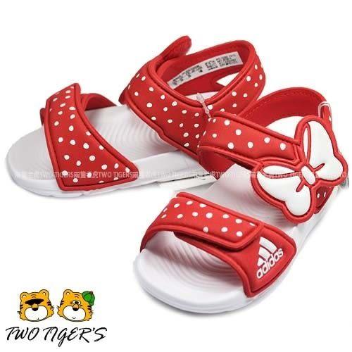 ADIDAS Disney Akwah 9 白/紅色 米妮 蝴蝶結 魔鬼氈 涼鞋 NO.Y0830