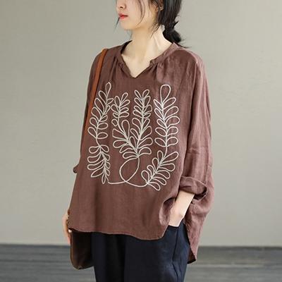 亞麻V領刺繡襯衫 純色明顯薄款長袖上衣/5色-夢想家-0325
