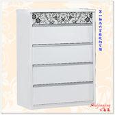 【水晶晶家具/傢俱首選】威爾納2.5*3.7呎藝術印花白色五斗櫃 JF8064-2