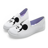 Disney 可愛米奇大頭 帆布懶人鞋-白(DW5126)