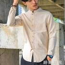 棉麻上衣中國風唐裝男士加大碼寬鬆襯衫青年盤扣古裝襯衣男秋裝潮 檸檬衣舍