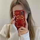 紅色立體蝴蝶結線條牛蘋果手機殼硅膠防摔軟殼【輕派工作室】