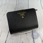 BRAND楓月 PRADA 普拉達 1ML018 黑短夾 錢包 皮夾 錢夾 金釦 二折 全皮 皮質 水波紋 LOGO