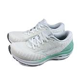 美津濃 Mizuno WAVE RIDER 24 WAVEKNIT 慢跑鞋 運動鞋 白/粉綠 女鞋 J1GD207502 no132
