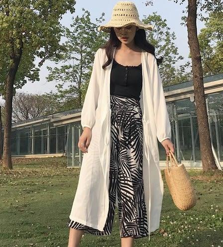 EASON SHOP(GU6197)白色長版防曬衣女上衣服中長款雪紡衫長袖開衫空調衫寬鬆韓版襯衫外套
