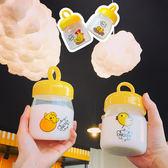 水杯  韓版創意卡通可愛萌小雞透明便攜清新簡約帶蓋學生迷你玻璃小水杯