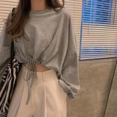 長袖上衣 高腰露臍短款抽繩上衣服女春秋季2021新款設計感性感長袖t恤ins潮 韓國時尚週