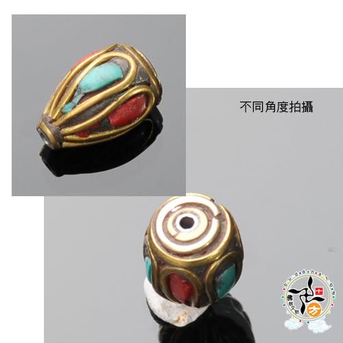 藏式手工銅珠(銅) 1.4*1公分 1入 +平安加持小佛卡 【 十方佛教文物】