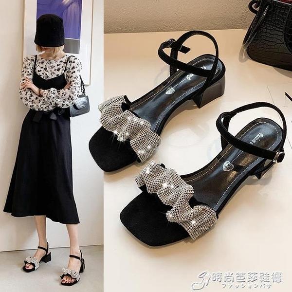 仙女風女粗跟水鉆一字帶涼鞋配裙子2021夏新款中跟時裝高跟鞋法式 時尚芭莎
