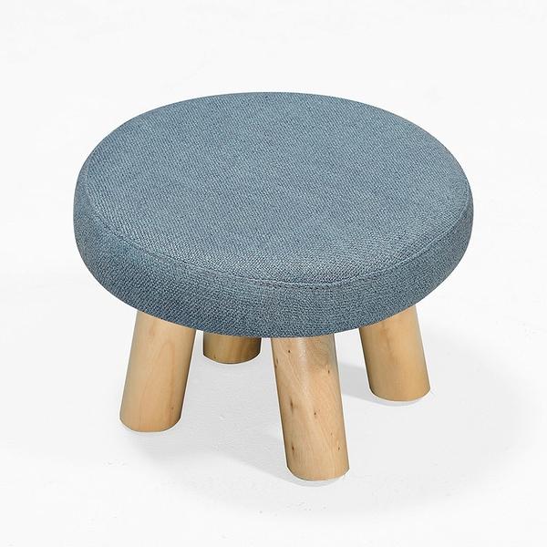 【森可家居】亞蓓淺藍色圓凳 8ZX562-4 麻布椅凳 實木腳