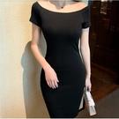 連身裙性感打底裙S-2XL純棉短袖一字領包臀裙緊身套頭包臀女款1F041A-9310.胖胖唯依