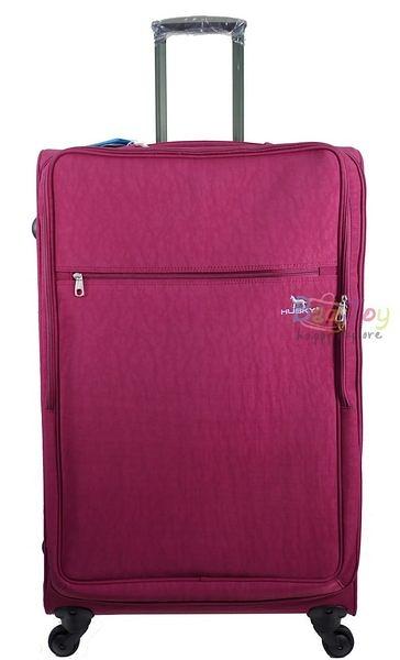 YUE HUSKY 超輕量皺皺布28吋行李箱(YU-7028莓紅)