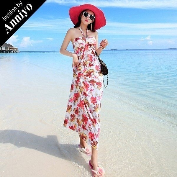 Anniyo安妞‧掛脖露肩波西米亞海邊度假牛奶絲碎花印花長裙沙灘裙長洋裝 白系花