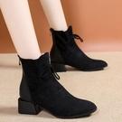 短靴 新款女瘦瘦靴秋冬2020韓版百搭粗跟短筒英倫馬丁靴加絨平底靴 店慶降價