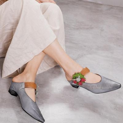 尖頭花朵涼鞋 真皮手工女鞋 一字帶外穿涼鞋/2色-夢想家-標準碼-0409
