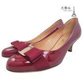 【巴黎站二手名牌專賣店】*現貨*Salvatore Ferragamo 真品*紅色漆皮經典蝴蝶結飾中跟鞋(5號)