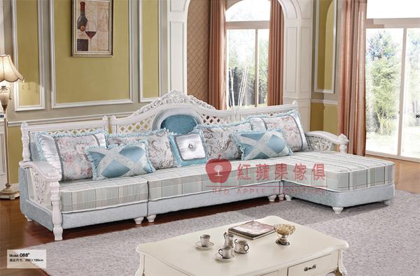 [紅蘋果傢俱] 088 歐式系列 古典 歐式 法式 L型沙發組 布藝 布沙發 椅子 工廠直營