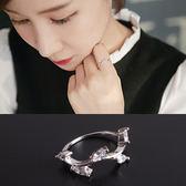 Quenby 清新小女人樹葉鑲鋯石食指中指戒指/銀飾