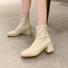 靴子女秋款馬丁靴秋冬季高跟新款女鞋百搭粗跟網紅瘦瘦短靴女 韓國時尚週