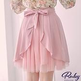 裙子 露比設計‧垂墜荷葉後綁帶拼接網紗短裙-Ruby s 露比午茶