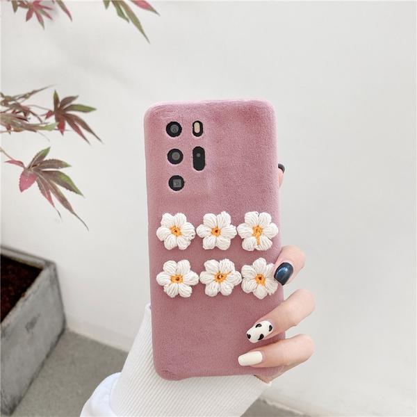 小清新花朵蘋果12 Pro手機套 可愛蘋果12 mini保護套 日韓IPhone 12手機殼 毛絨iPhone12 Pro Max保護殼