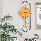 掛鐘 北歐創意現代簡約鐘錶設計感客廳掛鐘時尚玄關時鐘藝術電子石英鐘T 交換禮物