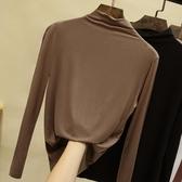莫代爾半高領打底衫女長袖t恤秋裝2019新款內搭薄款修身黑色上衣 陽光好物
