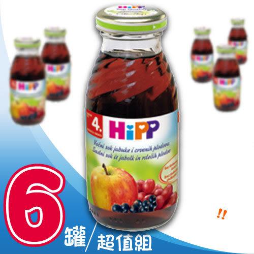 【奇買親子購物網】HiPP喜寶有機綜合紅寶多果汁/6入