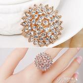 歐美時尚夸張水鑽太陽花食指戒指女大氣圓形裝飾指環韓國潮人飾品新年下殺