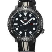 【台南 時代鐘錶 SEIKO】精工 盾牌五號 潛水風格機械錶 SRPC67J1@4R36-06N0X 尼龍帶 黑鋼 45mm