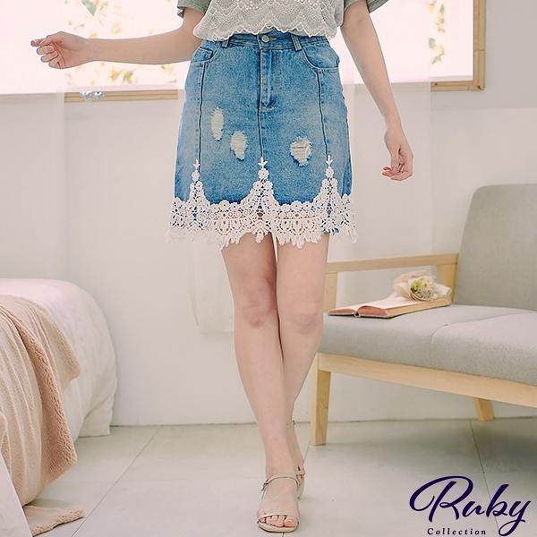 裙子 鉤花滾邊抓破牛仔褲裙-Ruby s 露比午茶