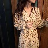雪紡碎花洋裝女秋季新款收腰法式顯瘦洋氣v領氣質長袖長裙 【新年快樂】