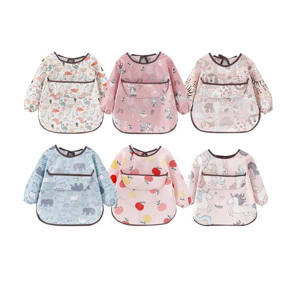 防水圍兜 反穿衣 寶寶吃飯罩衣 嬰兒純棉長袖圍兜 88349