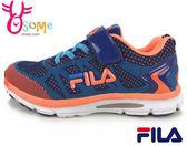 FILA男童慢跑鞋 輕量 耐磨大底 透氣運動鞋L7641#藍橘◆OSOME奧森童鞋/小朋友