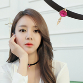 Qmishop 韓劇最愛款 黑色皮革水鑽項鍊【QG1893】