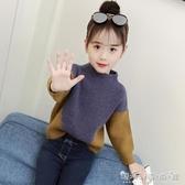女童毛衣秋裝冬秋新款兒童中大童洋氣上衣兒童拼色長袖針織衫 晴天時尚館