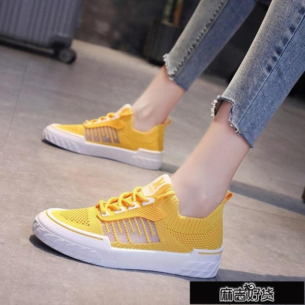 網鞋女2021夏季新款學生韓版透氣飛織網面小白鞋鏤空軟底鞋子【全館免運】