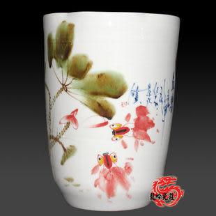 手繪青花釉裏紅窯變釉花瓶
