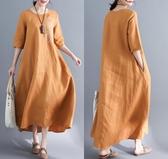 春秋新款韓版棉麻大碼女裝寬鬆過膝長款繡花五分袖連身裙 凱斯盾