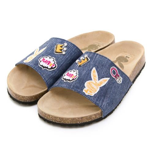 PLAYBOY 趣味甜心 可愛塗鴉丹寧布拖鞋-深藍