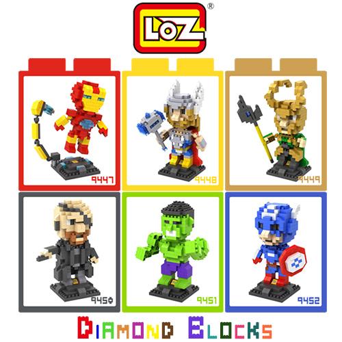 LOZ 迷你鑽石小積木 復仇者聯盟 漫威英雄 鋼鐵人 雷神索爾 樂高式 組合玩具 益智玩具 原廠正版